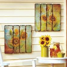 Sunflower Home Decor Set Of 2 Printed Pallet Wall Art Hangings From Cornerstone