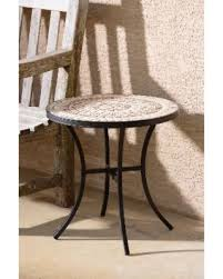 Wrought Iron Patio Side Table Big Deal On Boracay Beige Ceramic And Wrought Iron 20 Inch Round
