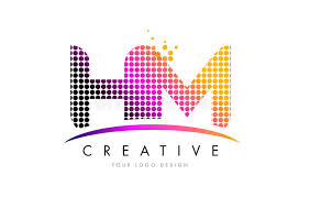 hm design hm h m letter logo design with magenta dots and swoosh stock