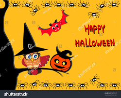 cute halloween card cute owl witch stock vector 225234343
