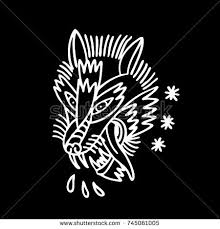 wolf traditional tattoo flash stock vector 741703405 shutterstock