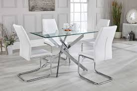 glass metal dining table leonardo 4 clear glass and chrome metal modern stylish dining table