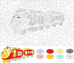color by number educational game for kids cartoon train vector
