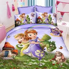 Single Bed Linen Sets Disney Mermaid Sophia Princess Girls Bedding Set Duvet Cover Bed