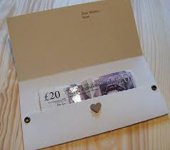 wedding gift or money personalised money gift voucher wallet pouch card birthday