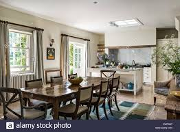 Open Plan by Antique Dining Table With Chairs In Open Plan Kitchen Dining Room