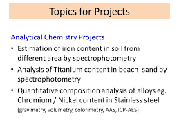 Applications Of Colorimetry In Analytical Chemistry Projects For B Sc Chemistry Ppt