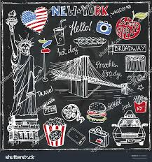 New York travel set images New york doodle setamericanusa travel symbols stock vector jpg