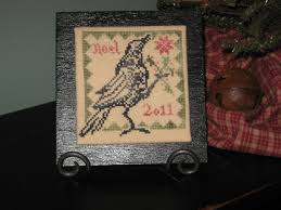 linen and thread blackbird ornament