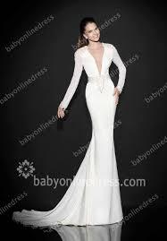 turmec v neck white prom dresses
