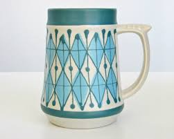 mid century scandinavian modern ceramic tankard beer stein mug