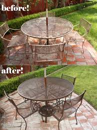 Refinishing Wrought Iron Patio Furniture by Repainting Metal Patio Furniture Small Home Decoration Ideas