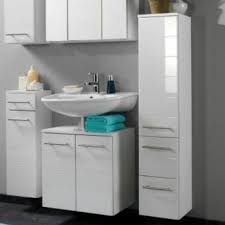 Wall Mounted Bathroom Cabinet White Gloss Long Tall Storage - Bathroom cabinets in white gloss