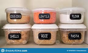 kitchen food storage cupboard food containers in the cupboard stock image image of shelf