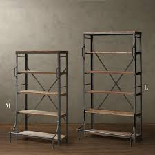 loft american country retro mining iron wood bookcase bookcase