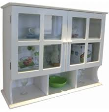 anself white wooden kitchen wall cabinet with glass door