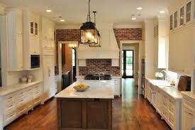 Green Brick Backsplash Tiles Transitional Kitchen With Exposed Brick Backsplash Design Ideas