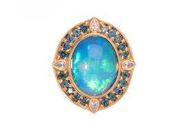 tourmaline opal blue peacock ethiopian opal ring handmade by larry vasquez