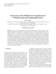 the journal of the pgrss and its significance in philippine space