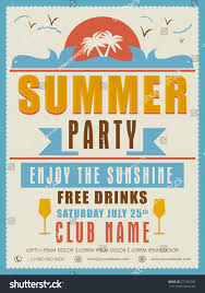 Party Invitation Cards Designs Vintage Summer Party Invitation Card Design Stock Vector 271353269