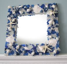 sea glass mirror beach decor beach glass mirror nautical