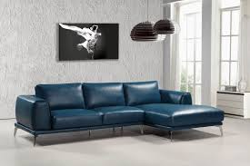 Sofas Casa Drancy Modern Blue Bonded Leather Sectional Sofa