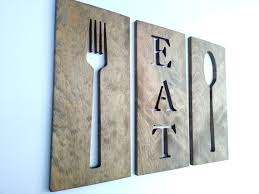 eat fork spoon kitchen wooden plaques wall decor carved wooden