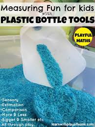 learn with play at home measuring activity with plastic bottle