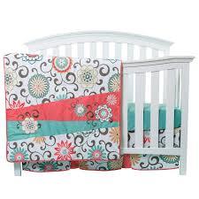 Coral Nursery Bedding Sets trend lab waverly pom pom play 4 piece crib bedding set