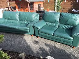 Green Leather Sofa by Green Leather Sofa Set 3 2 In Mint Condition Free Delivery Local