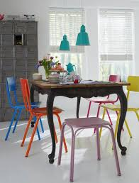 Dining Chair And Table Multi Colored Dining Chairs A Playful Touch For The Décor