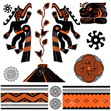 vector of ancient american ornaments and pyramid royalty free
