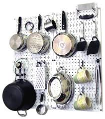 kitchen pegboard organizer pots and pans white pegboard and white