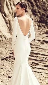 plain wedding dresses white modern plain dramatic sleeves cutout back buttons