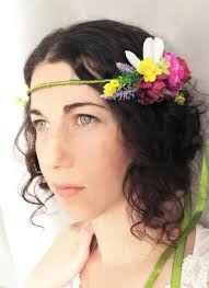 bohemian hair accessories bridal hair wreath with fabric flowers vintage bohemian style
