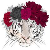 vector tiger in a wreath of flowers greeting card with a