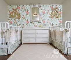 Shabby Chic Style Wallpaper by Twin Nursery Design Nursery Shabby Chic Style With Wood Monogram