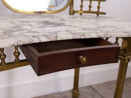 Brass Desk Accessories by Antique Brass U0026 Marble Dressing Table For Sale At Pamono