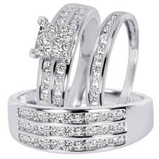 white gold wedding band sets 1 2 3 carat t w diamond trio matching wedding ring set 10k white