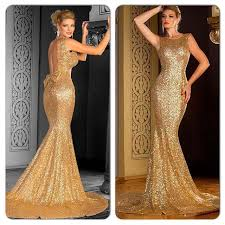 New Fashion 2016 Sparkly Gold Mermaid Prom Dresses With Bateau