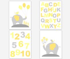 baby nursery canvas wall art yellow gray grey alphabet numbers