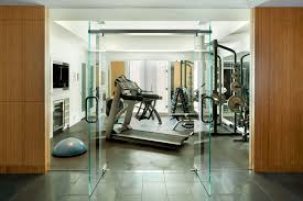 at home gym decorating ideas home gym modern with tile floor glass