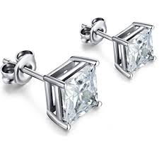 silver stud earrings cz diamond stud earrings 925 sterling silver stud