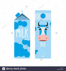 packaging of milk template design package with blue cow milk