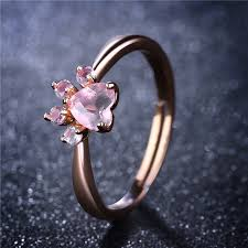 pink crystal rings images Romad bear paw cat claw opening adjustable ring rose gold rings jpg