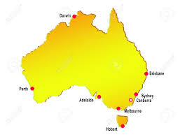 Austrailia Map Map Of Australia With Major Cities Stock Photo Picture And
