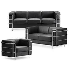 grand comfort sofa inspired by le corbusier in black leather