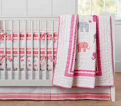 light pink crib bedding harper elephant baby bedding pottery barn kids