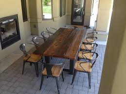 rustic metal and wood dining table distressed dining table metal dining set outdoor affordable