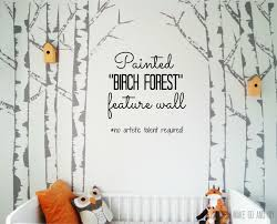 if you go down to the wood s today make do and diy diy birch tree painted mural feature wall nursery kids room